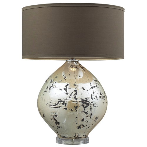 Elk Lighting Modern Table Lamp with Brown Shade in Turrit Gloss Beige Finish D2262