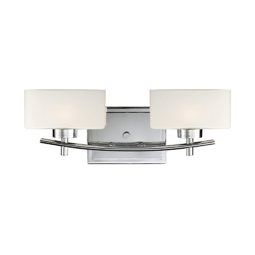 Elk Lighting Modern Bathroom Light with White Glass in Polished Chrome Finish 17081/2