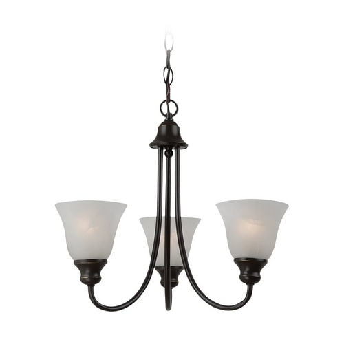 Sea Gull Lighting Mini-Chandelier with Alabaster Glass in Heirloom Bronze Finish 35939-782