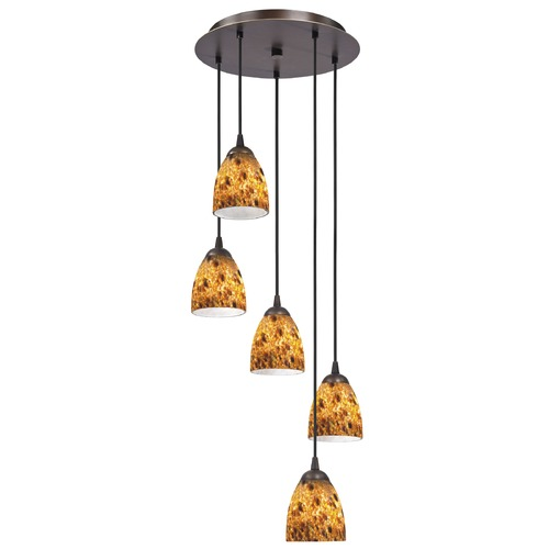 Design Classics Lighting Design Classics Gala Fuse Neuvelle Bronze Multi-Light Pendant with Bell Shade 580-220 GL1005MB