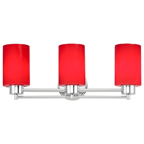 Design Classics Lighting Modern Bathroom Light with Red Glass in Chrome Finish 703-26 GL1008C