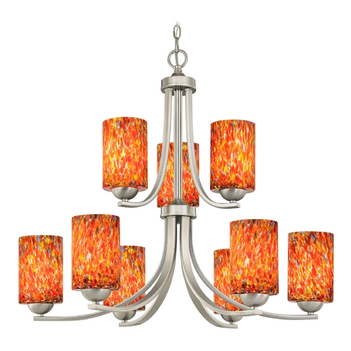 Design Classics Lighting Modern Chandelier with Art Glass in Satin Nickel Finish 586-09 GL1012C