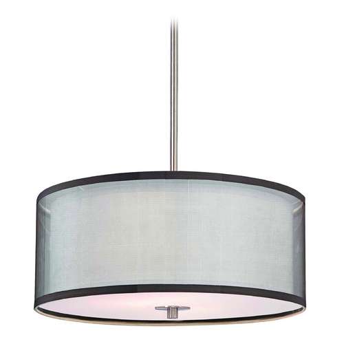Design Classics Lighting Double Drum Pendant Light in Satin Nickel Finish - 20-Inches Wide DCL 6528-09 SH7614  KIT