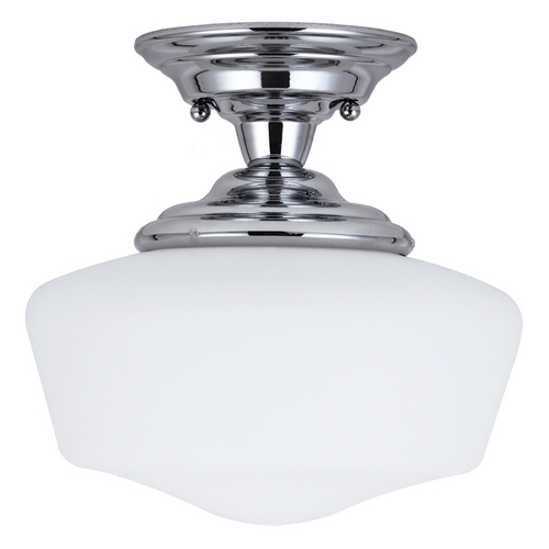 Sea Gull Lighting Schoolhouse Semi-Flushmount Light with White Glass in Chrome Finish 77436-05