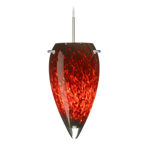 Besa Lighting Besa Lighting Juli Satin Nickel LED Mini-Pendant Light with Teardrop Shade 1JT-412541-LED-SN