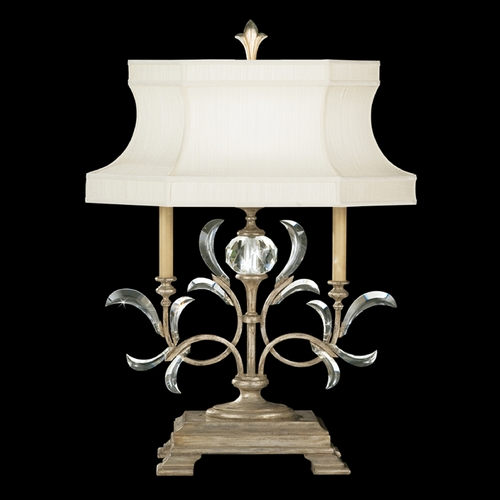 Fine Art Lamps Fine Art Lamps Beveled Arcs Silver Leaf Table Lamp with Hexagon Shade 737910ST