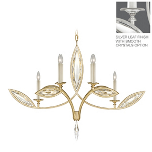 Fine Art Lamps Fine Art Lamps Marquise Platinized Silver Leaf Crystal Chandelier 844040-11ST