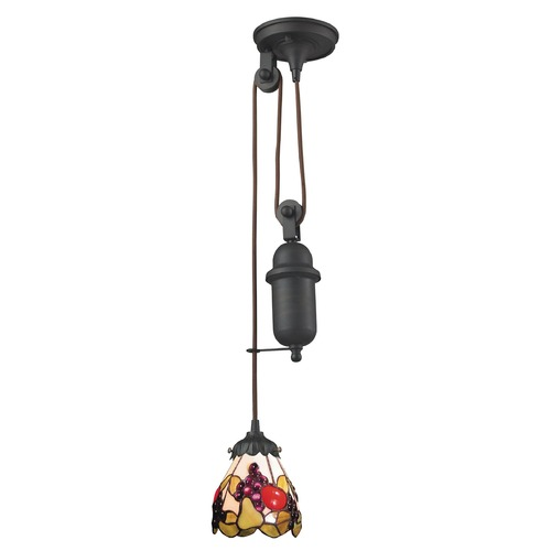 Elk Lighting Elk Lighting Tiffany Pulldown Tiffany Bronze Mini-Pendant Light with Bowl / Dome Shade 081-TB-19