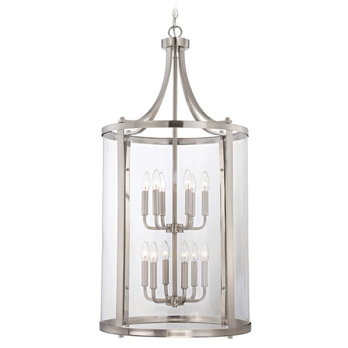 Savoy House Savoy House Satin Nickel Pendant Light with Cylindrical Shade 7-1042-12-SN