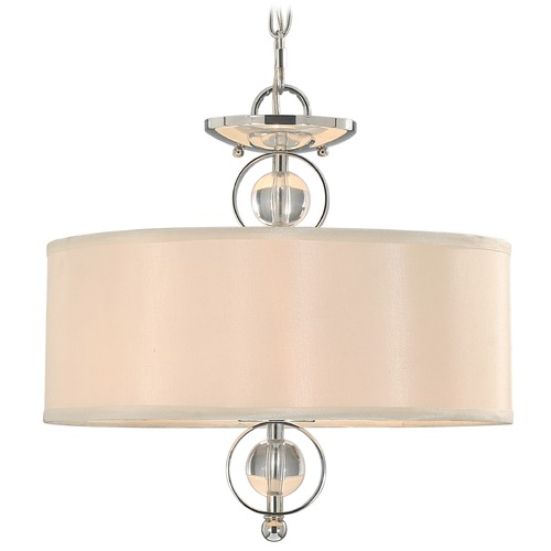 Golden Lighting Golden Lighting Cerchi Chrome Pendant Light with Drum Shade 1030-SF CH