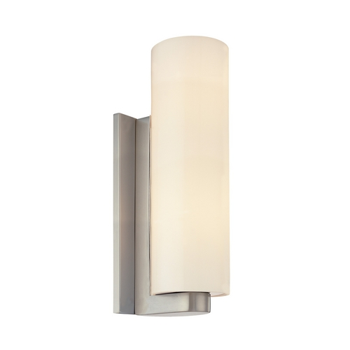 Sonneman Lighting Modern Sconce Wall Light with White Glass in Satin Nickel Finish 3781.13