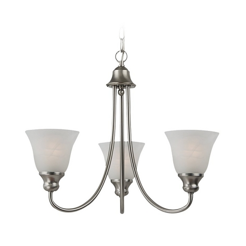 Sea Gull Lighting Mini-Chandelier with Alabaster Glass in Brushed Nickel Finish 35939-962