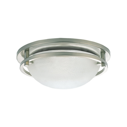 Sea Gull Lighting Modern Flushmount Light with White Glass in Brushed Nickel Finish 75114-962