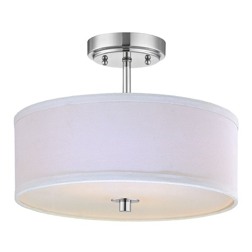 Design Classics Lighting Modern Chrome Ceiling Light with White Drum Shade - 14-Inches Wide DCL 6543-26 SH7483 KIT