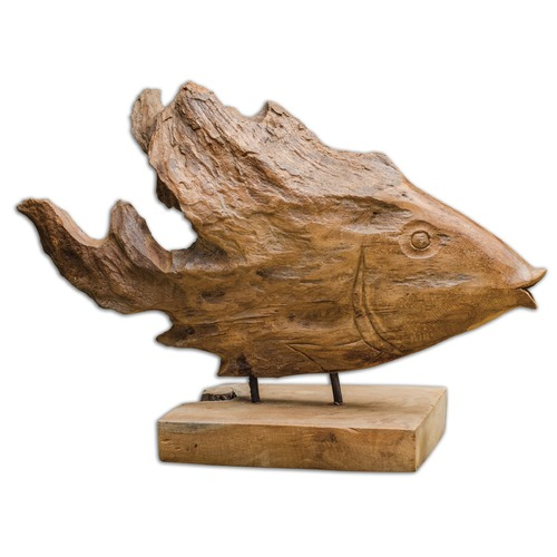 Uttermost Lighting Uttermost Teak Fish Sculpture 17084