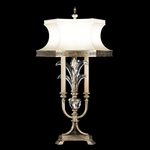 Fine Art Lamps Fine Art Lamps Beveled Arcs Silver Leaf Table Lamp with Hexagon Shade 738210ST
