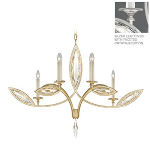 Fine Art Lamps Fine Art Lamps Marquise Platinized Silver Leaf Crystal Chandelier 844040-12ST
