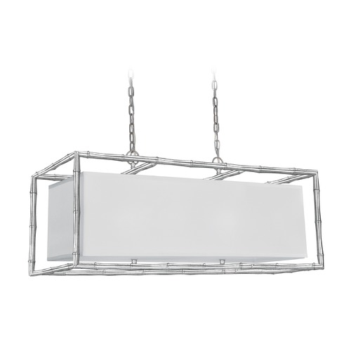 Crystorama Lighting Crystorama Lighting Masefield Antique Silver Island Light with Rectangle Shade 9017-SA