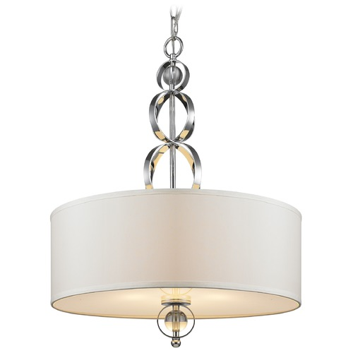 Golden Lighting Golden Lighting Cerchi Chrome Pendant Light with Drum Shade 1030-3P CH
