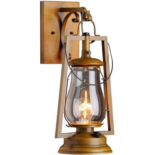 Sutters Mill Lantern Co Hook Arm Mount Rustic Brass Outdoor Wall Lantern - Warm Brass Finish 752-B-1-WB-CL