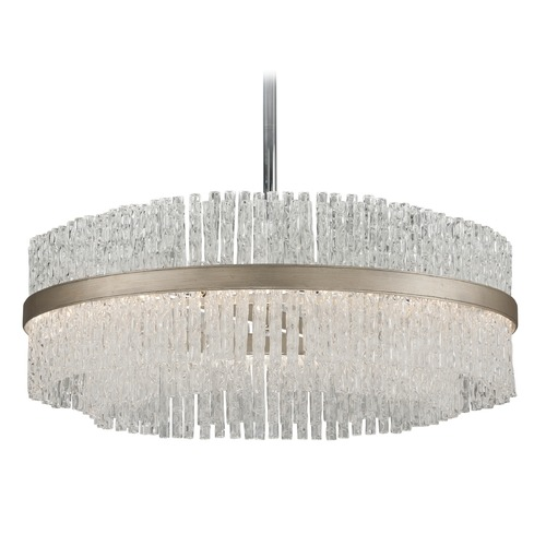 Corbett Lighting Corbett Lighting Chime Silver Leaf with Polished Stainless Accents Pendant Light 204-48