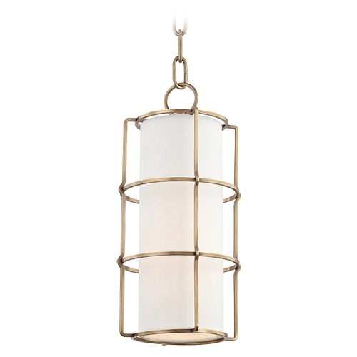 Hudson Valley Lighting Hudson Valley Lighting Sovereign Aged Brass LED Pendant Light with Cylindrical Shade 1510-AGB