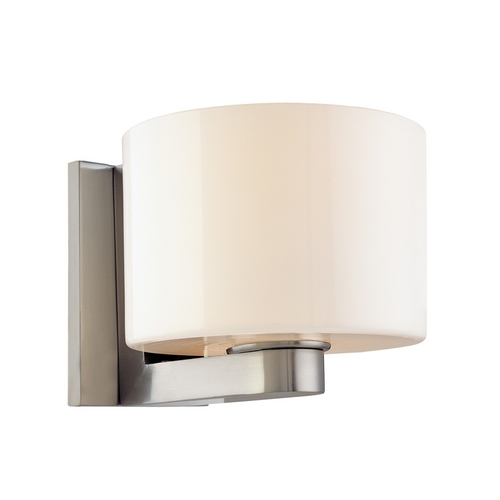 Sonneman Lighting Modern Sconce Wall Light with White Glass in Satin Nickel Finish 3780.13
