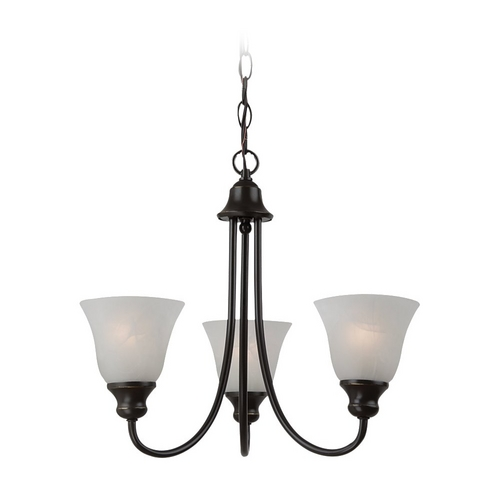 Sea Gull Lighting Mini-Chandelier with Alabaster Glass in Heirloom Bronze Finish 35939BLE-782
