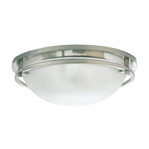 Sea Gull Lighting Modern Flushmount Light with White Glass in Brushed Nickel Finish 75115-962