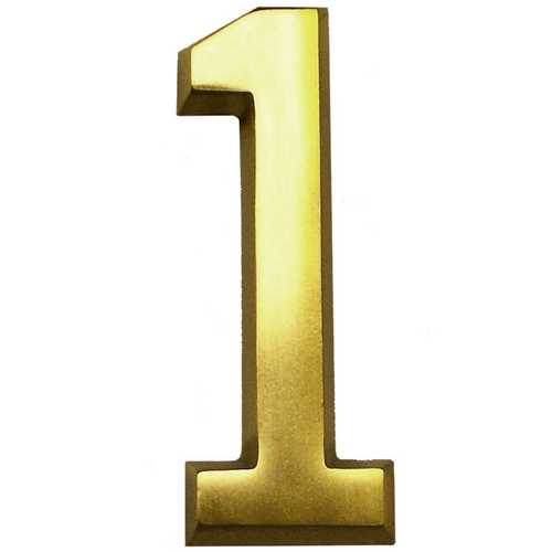 Gaines Hardware #1 Satin Brass 4-Inch House Number GM CB-1