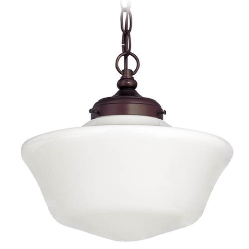Design Classics Lighting 12-Inch Bronze Schoolhouse Pendant Light with Chain FA4-220 / GA12 / A-220