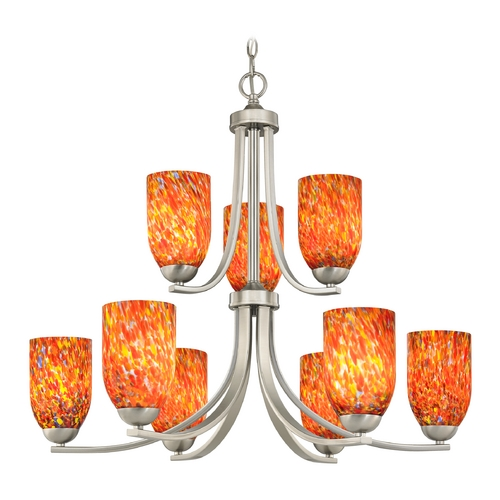 Design Classics Lighting Modern Chandelier with Art Glass in Satin Nickel Finish 586-09 GL1012D