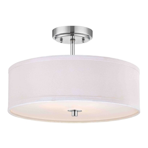 Design Classics Lighting Chrome Semi-Flush Light with White Drum Shade - 16 Inches Wide DCL 6543-26 SH7492 KIT