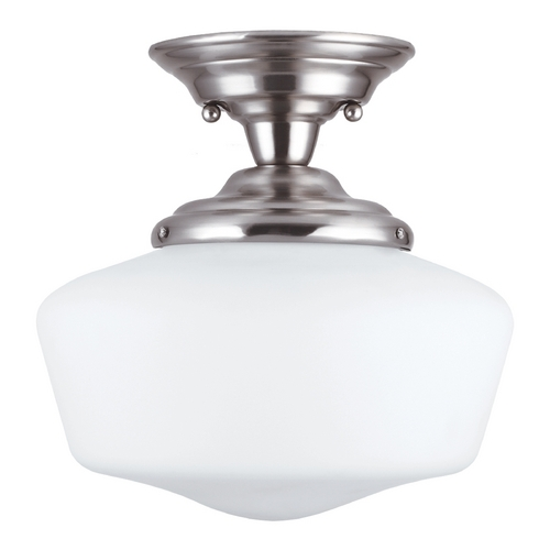 Sea Gull Lighting Schoolhouse Semi-Flushmount Light with White Glass in Brushed Nickel Finish 77436-962