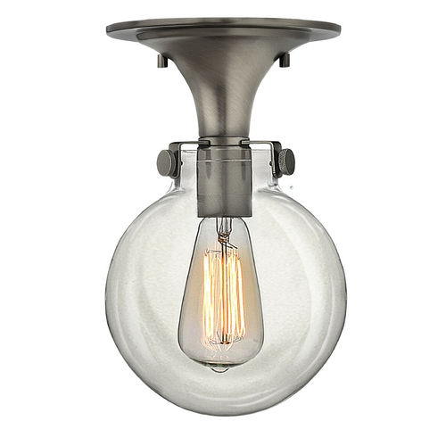 Hinkley Lighting Semi-Flushmount Light with Clear Glass in Antique Nickel Finish 3149AN