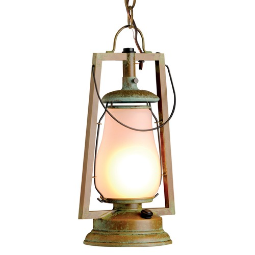 Sutters Mill Lantern Co Chain Mount Brass Hanging Lantern - New Verde Finish 752-B-S-4-NV-FR