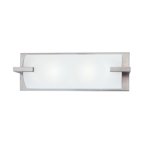 Sonneman Lighting Modern Bathroom Light with White Glass in Satin Nickel Finish 3793.13