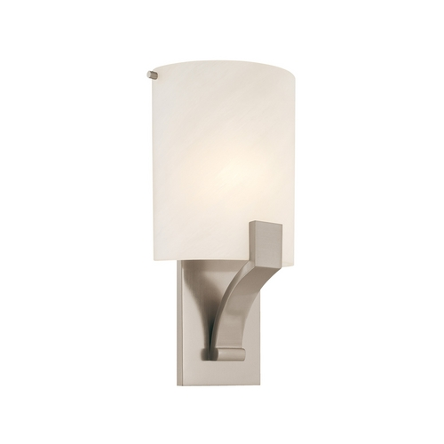 Sonneman Lighting Sconce Wall Light with Alabaster Glass in Satin Nickel Finish 1851.13