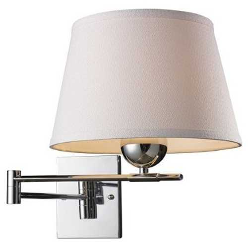 Elk Lighting Modern Swing Arm Lamp with White Shade in Polished Chrome Finish 10106/1
