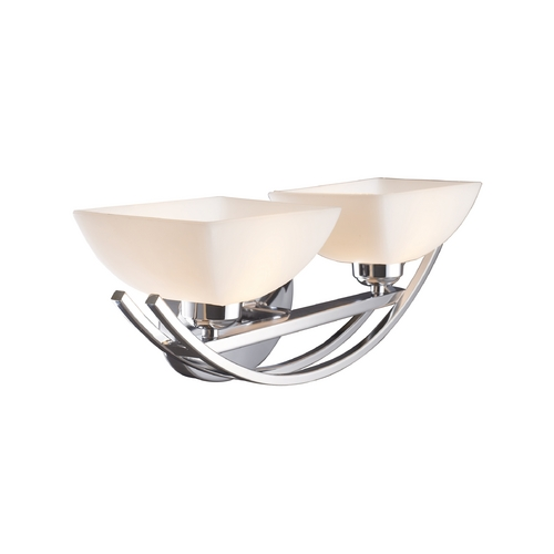 Elk Lighting Modern Bathroom Light with White Glass in Polished Chrome Finish 10031/2