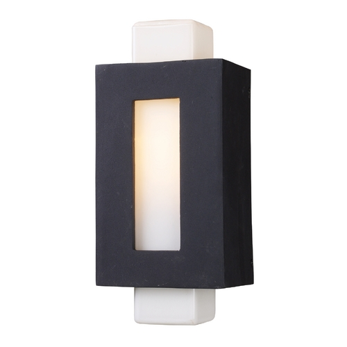 Elk Lighting Modern Outdoor Wall Light with White Glass in Matte Black Finish 42195/1