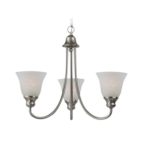 Sea Gull Lighting Mini-Chandelier with Alabaster Glass in Brushed Nickel Finish 35939BLE-962