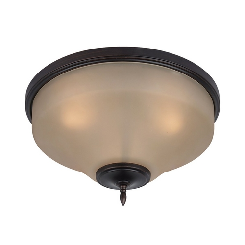 Sea Gull Lighting Flushmount Light with Amber Glass in Burnt Sienna Finish 75180-710