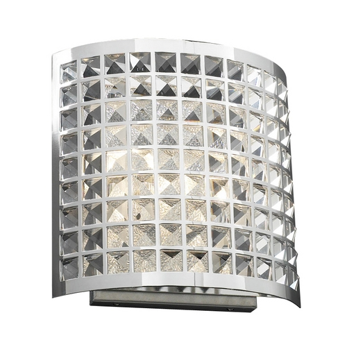 PLC Lighting Modern Sconce Wall Light with Clear Glass in Polished Chrome Finish 18186 PC