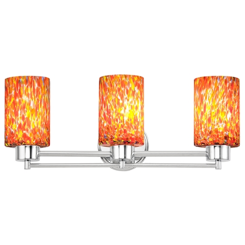 Design Classics Lighting Modern Bathroom Light with Art Glass in Chrome Finish 703-26 GL1012C