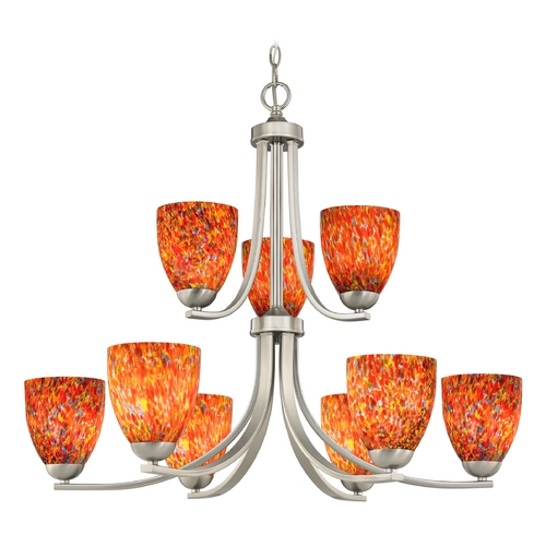 Design Classics Lighting Modern Chandelier with Art Glass in Satin Nickel Finish 586-09 GL1012MB