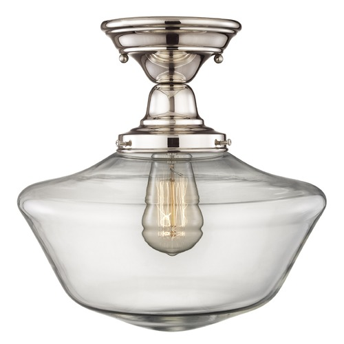 Design Classics Lighting Design Classics Elliott Fitter with Powellhurst Glass Polished Nickel Semi-Flushmount Light FBS-15 / GA12-CL