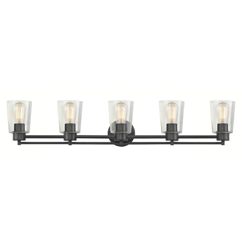 Design Classics Lighting Industrial Clear Glass Bathroom Light Black 5 Lt 706-07 GL1027-CLR