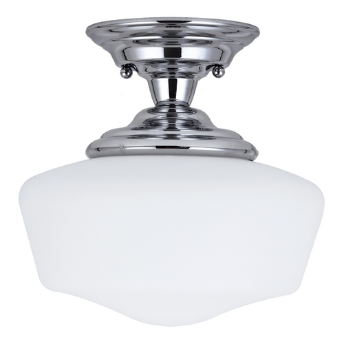 Sea Gull Lighting Schoolhouse Semi-Flushmount Light with White Glass in Chrome Finish 77436BLE-05