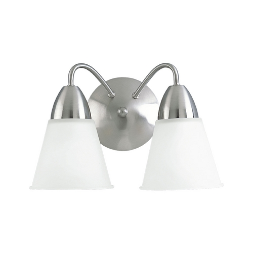 Progress Lighting Progress Bathroom Light with White Glass in Brushed Nickel Finish P3302-09